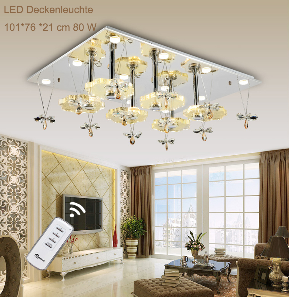1680 101 76 cm led kristall deckenleuchte fernbedienung lichtfarbe schaltbar a ebay. Black Bedroom Furniture Sets. Home Design Ideas