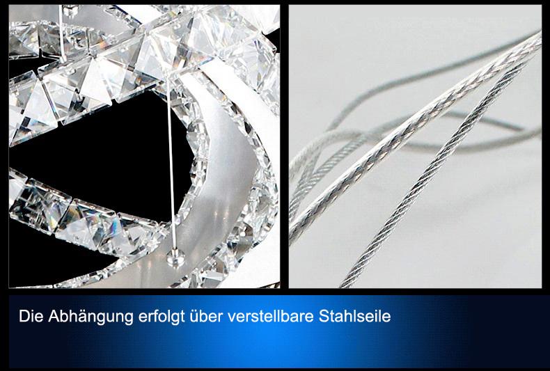 led pendelleuchte 3210 ringe luxus design k9 kristall kaltwei 4500k chrom a ebay. Black Bedroom Furniture Sets. Home Design Ideas