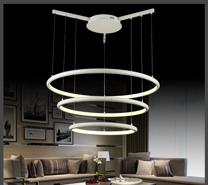 led pendelleuchte 8040 100x80x60cm 3 ringe alu rahmen warmweiss luxus design a ebay. Black Bedroom Furniture Sets. Home Design Ideas