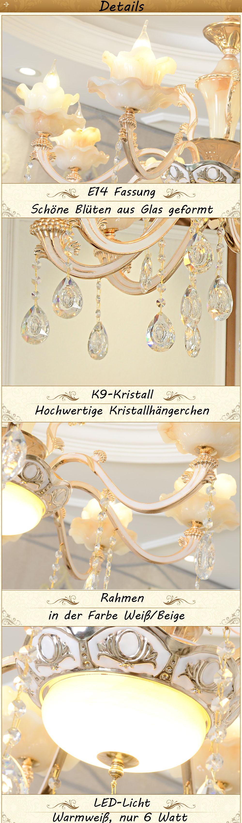 Eurohan XLH Kronleuchter Deckenlampe Kristall Fassung E14 Luxuriös ...