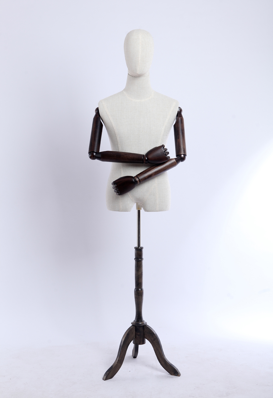 Schneiderpuppe stoffbezogenen Torso Holz Arme und Finger verstellbar,Holzstand